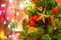 Christmas tree defocused lights with ribbon Stock Photo