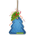 Christmas tree on the denim texture greeting card with Royalty Free Stock Images