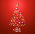Christmas tree design for greetings card with colorful christmas decorations