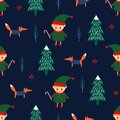 Christmas tree, elf with candy cane and fox seamless pattern on dark blue background.