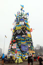 Christmas tree on euromaydan kiev ukraine maidan euromaidan december protest against president yanukovych who didn t sign the Stock Images