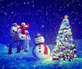 Christmas Tree Family Carol Snowman Concepts Royalty Free Stock Photo