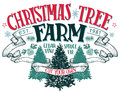 Christmas tree farm vintage sign Royalty Free Stock Photo