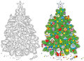 Christmas tree fir decorated for color and black and white vector illustrations on a white background Stock Photos
