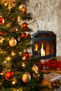 Christmas tree and fireplace Royalty Free Stock Photography