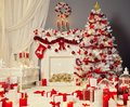 Christmas Tree Fireplace, Xmas Living Room, Fire Place Decoration Royalty Free Stock Photo