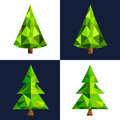 Christmas tree flat 3d lowpoly pixel art icon Royalty Free Stock Photo
