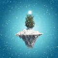 Christmas tree floating island background d render of a on a with snowfall Royalty Free Stock Photo