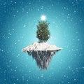 Christmas tree floating island background Royalty Free Stock Photo
