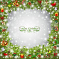 Christmas tree frame with baubles illustration Stock Photos