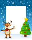 Christmas Tree Frame - Drunk Reindeer Royalty Free Stock Photo