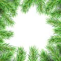 Christmas Tree Frame. Fir Branches Greeting Card. Winter Holidays Decoration Royalty Free Stock Photo