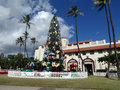 Christmas tree in front of honolulu hale december foot norfolk pine the mayor office as part city lights runs Stock Photography
