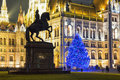 Christmas Tree In Front Off Parliament Building Royalty Free Stock Photo