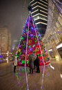 Christmas tree in front of shopping mall Stock Photo