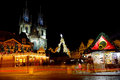Christmas tree in front of the tyn church in prague at night during season Royalty Free Stock Photography