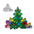 Christmas tree with garlands and gifts Stock Photo