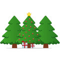Christmas tree gift box and star Royalty Free Stock Photography