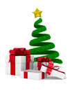 Christmas tree and gift box on white d image Royalty Free Stock Photos