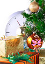 Christmas Tree,gift boxes,clock.Isolated Royalty Free Stock Photo