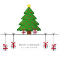 Christmas tree gift boxes hanging Royalty Free Stock Image
