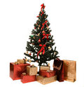 Christmas tree and gifts Stock Photography