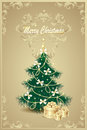 Christmas tree and gifts bows bell stars garlan post card with garland beads Royalty Free Stock Photo