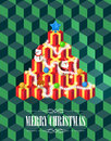 Christmas tree with gifts concept, Isometric Cubes style on green, background, vector Royalty Free Stock Photo
