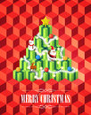 Christmas tree with gifts concept, Isometric Cubes style on red background, vector Royalty Free Stock Photo