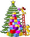 Christmas tree and gifts husband holding the ladder to his wife to place on the conceptual illustration about family Royalty Free Stock Images