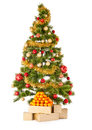 Christmas tree with gifts and mandarines presents on white Royalty Free Stock Photos