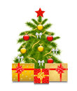 Christmas tree with gifts toys and on a white background Stock Photo
