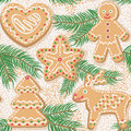 Christmas tree and ginger cookies seamless pattern background funny shaped baking new year fir colorful vector illustration Stock Photos