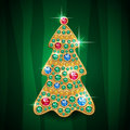 Christmas tree glamour shiny jewelry vector card Stock Images