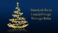 Christmas tree with glittering stars on blue background, polish seasons greetings Royalty Free Stock Photo
