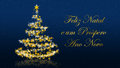 Christmas tree with glittering stars on blue background, portuguese seasons greetings Royalty Free Stock Photo