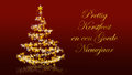 Christmas tree with glittering stars on red background, dutch seasons greetings Royalty Free Stock Photo