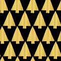 Christmas tree Gold foil seamless vector pattern backdrop. Shiny golden textured triangle Christmas trees on black background.