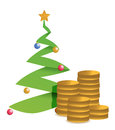 Christmas tree and golden coins illustration Royalty Free Stock Image