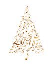 2015 christmas tree with golden metal musical notes