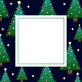 Christmas Tree and Golden Star on Dark Blue Night Sky Banner Card. Vector Illustration Royalty Free Stock Photo