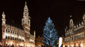 Christmas tree in grand place brussels belgium Royalty Free Stock Photos