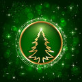 Christmas tree on green background Royalty Free Stock Photo