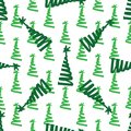 Christmas tree green painting ink. Doodle. Seamless pattern