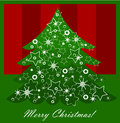 Christmas tree green with white ornaments background Royalty Free Stock Photos