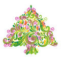 Christmas tree . Greeting card. Stock Images