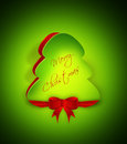 Christmas tree with greetings over green background merry dark Stock Image