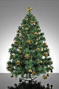 Christmas tree with grey stage Stock Photo