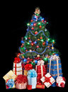 Christmas tree and group gift box. Stock Image