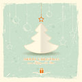 Christmas tree with hanging ornaments Royalty Free Stock Image